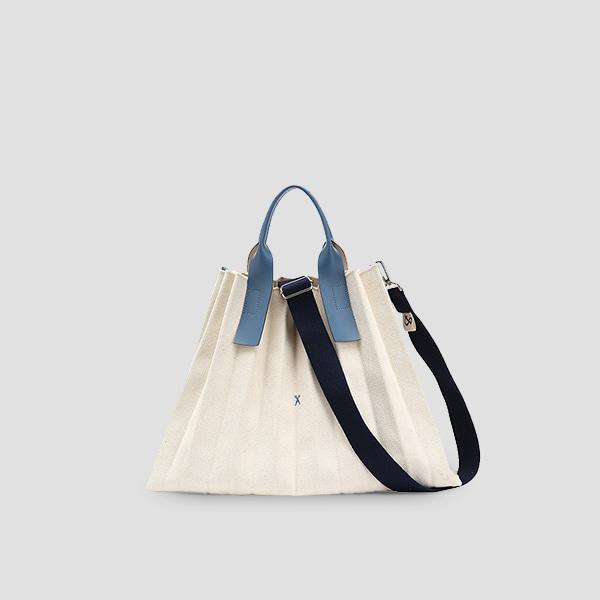 Lucky Pleats Canvas L Ivory_British Blue