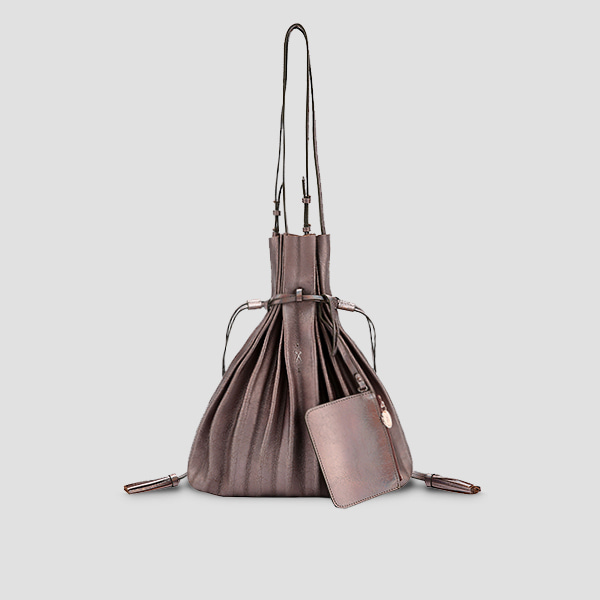 Lucky Pleats Shopper Cracked Brown