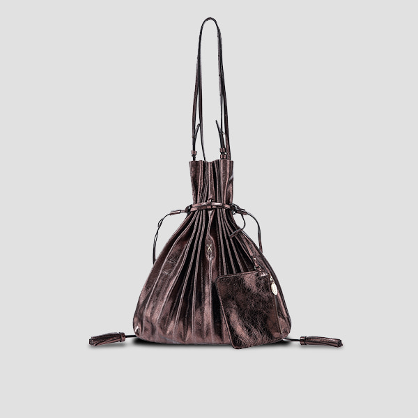 Lucky Pleats Shopper Cracked Chocobrown