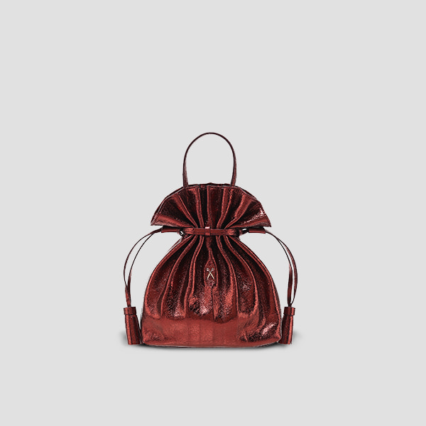 Lucky Pleats Crossbag Cracked Redbrown