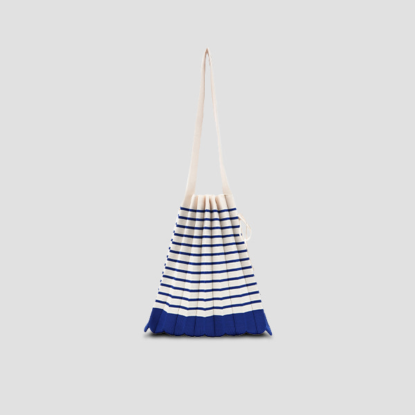 Lucky Pleats Knit M Stripe Royal Blue