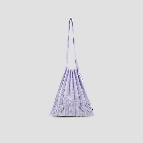 Lucky Pleats Knit M Crochet Cream Lavender
