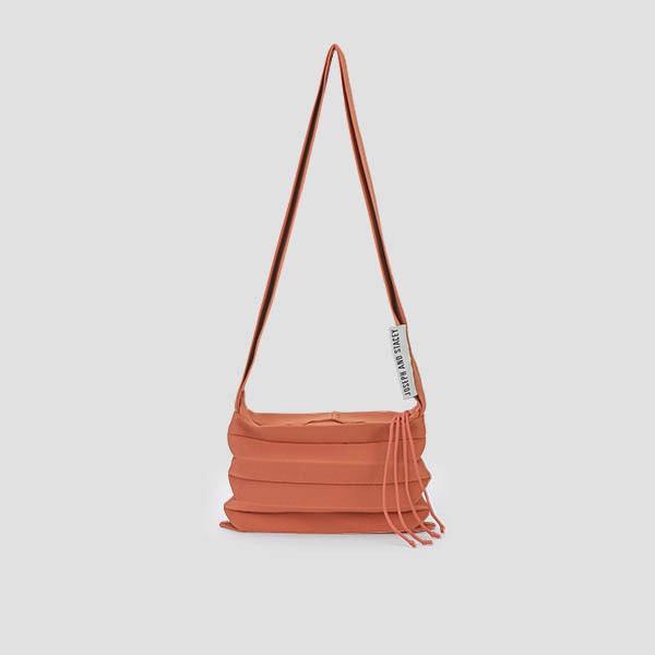 Lucky Pleats Knit Crossbag Burnt Peach