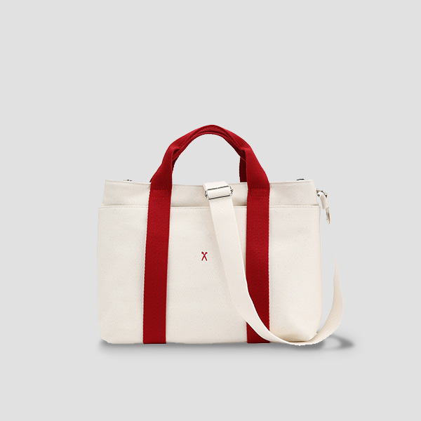 Stacey Daytrip Tote Canvas M Ivory_Red